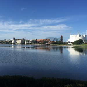 Jogging trail with a view of Walt Disney World Downtown Disney area